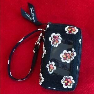 Vera Bradley Wristlet Wallet. Black Floral / Plaid